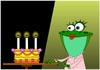 Frog and Cake Happy Bday e card
